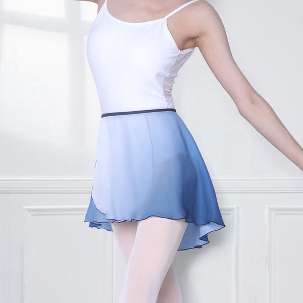 Amaris Ladies Wrap Tie Ballet Skirt with White to Blue Ombre Pattern