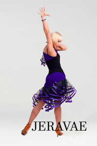 Short Latin Skirt and Matching Top with Net Ruffle and Ribbon Hem.  Available in Black and Purple Pra446
