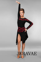 Black Latin Practice Skirt with Red Lace Waistband and Matching Practice Top with Long Sleeves and Bodysuit Pra456