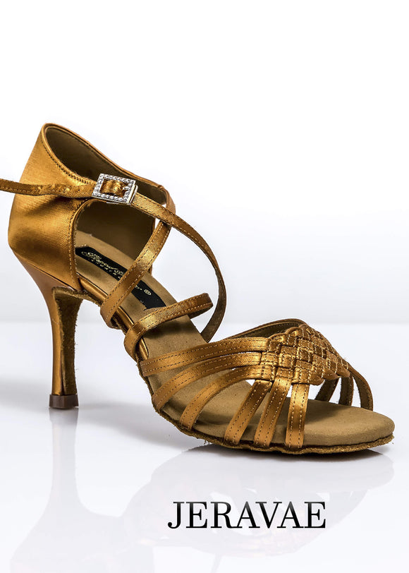 Grand Prix Ladies Latin Dance Shoe with Weave Rope Between Toe Straps in Tan Satin, Chooe Heel Height LIDS