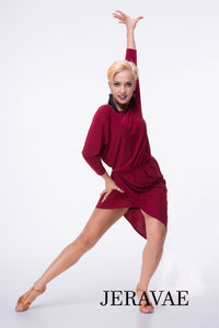Slouchy Long Sleeve Latin or Rhythm Practice Dress in Maroon or Black with Wrap Skirt Pra396