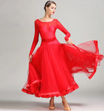 Long Standard Ballroom Practice Dress with Ribbon Floats and Soft Ribbon Hem.  Available in 5 Colors and Sizes S-3XL Pra219