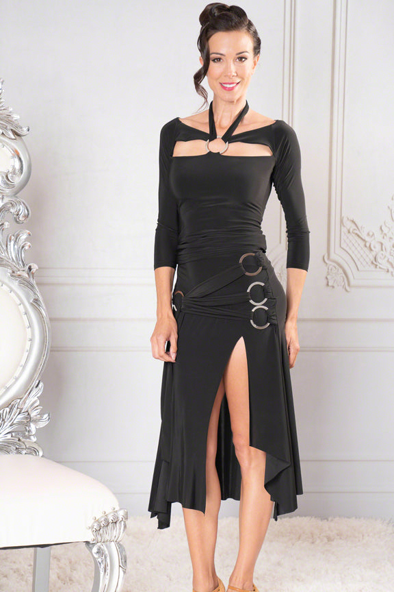Laced Quad-Ring Dance America Practice Skirt with Slit S912_in