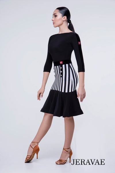 Nautical Style Striped Latin Practice Skirt with Fitted Hips and Soft Stretch Velvet Waistband. Pra643