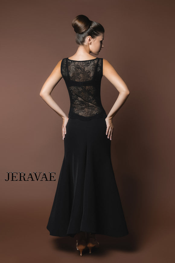 Long Sleeveless Black Ballroom Practice Dress with Lace Panel Back and Wrapped Horsehair Hem Pra619