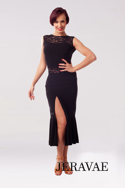 Calf-Length Black Latin Practice Skirt with Lace Accents and Slit Pra032