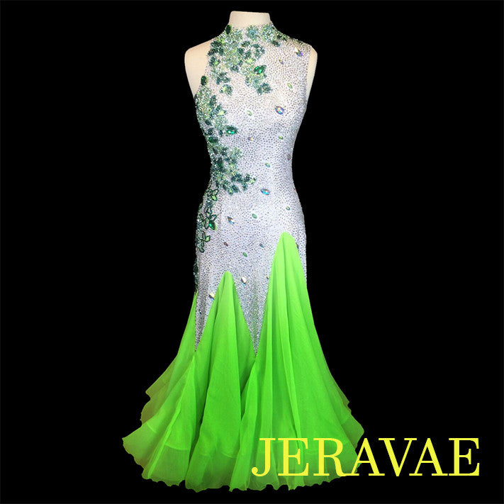 NEON LIME GREEN & WHITE SMOOTH BALLROOM DRESS M/L SMO017 sz Medium/Large