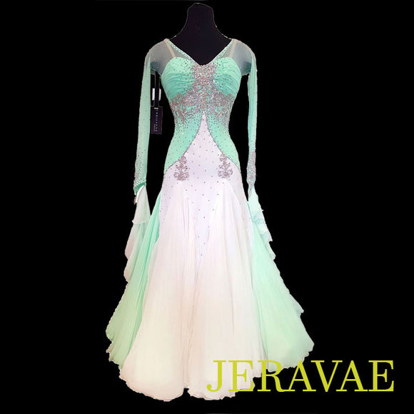 MINT GREEN AND WHITE STANDARD BALLROOM DRESS CHRISANNE RESALE SMO061 sold