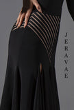 Black Crepe and Striped Mesh Latin Practice Skirt with Stripe Accent Panels and Double Slits Pra586