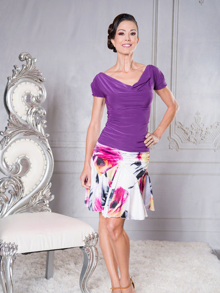 S002 - SHORT TULIP LATIN PRACTICE SKIRT BY DANCE AMERICA WITH SLIGHT ROUCHING