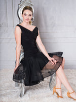 S016 - SHORT NIMBUS LATIN DANCE  PRACTICE SKIRT BY DANCE AMERICA WITH FULL SKIRT AND WRAPPED HORSEHAIR HEM