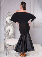 T011 -KEYHOLE BLOUSON BALLROOM DANCE TOP WITH STONE ACCENT BY DANCE AMERICA