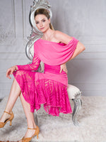 S011 - POINTED RUFFLE LATIN PRACTICE DANCE SKIRT BY DANCE AMERICA WITH SEE THROUGH VINE MESH PANELS