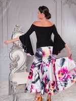 T021 - BELL SLEEVED FLORAL LINED BALLROOM DANCE PRACTICE TOP BY DANCE AMERICA
