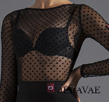 Polka Dot See Through Mesh Latin or Ballroom Practice Top with Long Sleeves.  Tuck Out Style (no bodysuit)