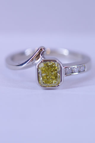 14k White Gold Yellow Diamond Ring