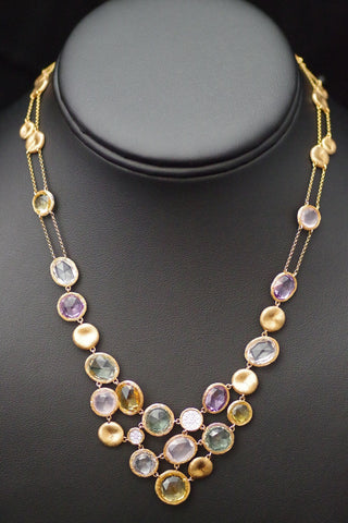 14k Rose Gold Semi-Precious Gem and Diamond Necklace