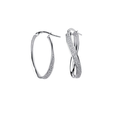 14k White Gold Sm Glitter Twist Hoops