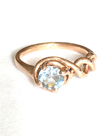 14k Rose Gold Aquamarine Ring