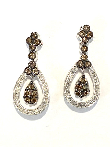 10k White Gold Diamond Drop Earrings
