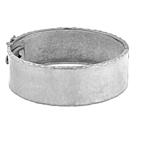 18k White Gold Hammered Bracelet