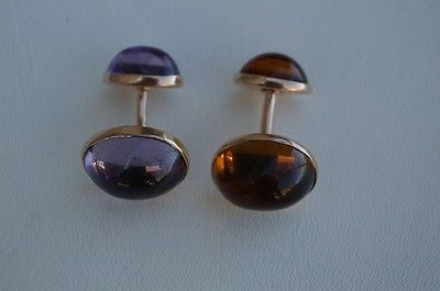 14K Yellow Gold Amethyst and Citrine Cuff Links