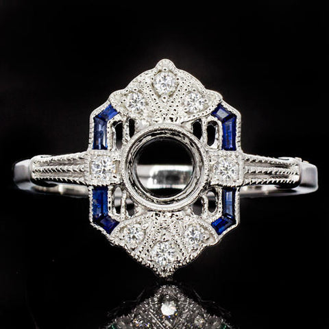 14k White Gold Art Deco Diamond and Sapphire Semi-Mount