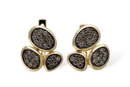 14k Yellow Gold and Brown Diamond Earrings