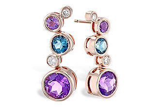 14k Rose Gold Amethyst, Blue Topaz and Diamond Earrings