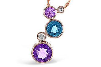 14k Rose Gold Amethyst, Blue Topaz and Diamond Pendant
