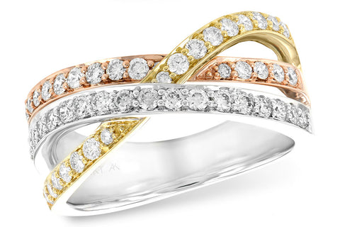 14k Tri-Color Gold and Diamond Ring
