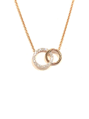 14k Rose Gold Diamond Circle Pendant