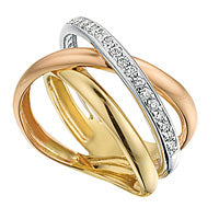Tri-Color Gold and Diamond Ring
