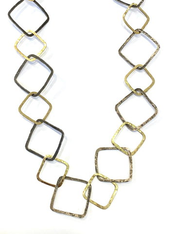 Sterling/18k Yellow Gold Hand Forged Necklace