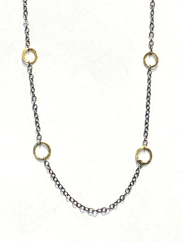 Sterling/22k Yellow Gold Circles Necklace
