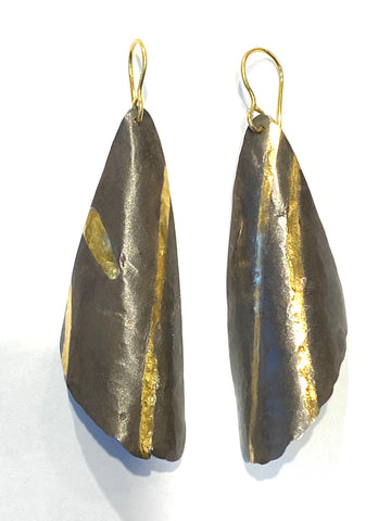 Sterling/22k Yellow Gold Wing Earrings