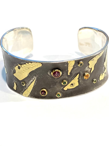 Sterling/18k/22k Yellow Gold Garnet Party Cuff