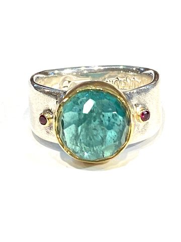 Sterling/22k Yellow Gold Indicolite Tourmaline Ring