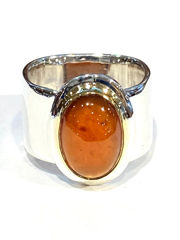 Sterling/22k Yellow Gold Spessartite Garnet Ring