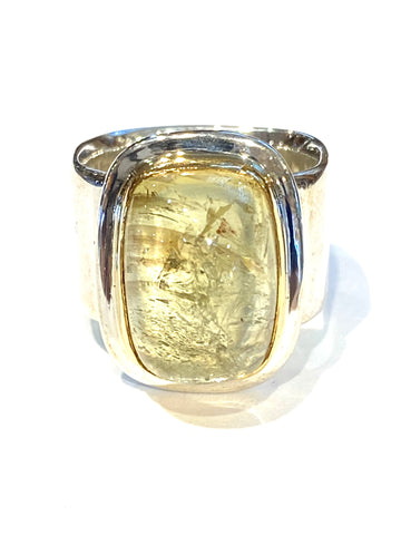 Sterling/22k Yellow Gold Heliodor Golden Beryl ring