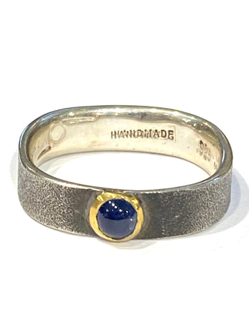 Sterling/22k Yellow Gold Blue Sapphire Cabochon Ring