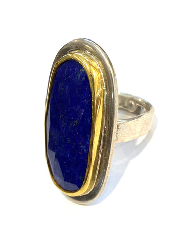 Sterling/22k Yellow Gold Lapis Ring