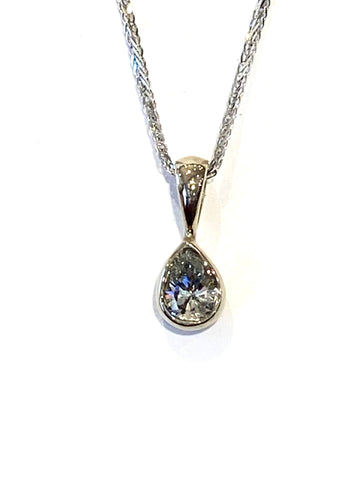 14k White Gold Drop Diamond Pendant