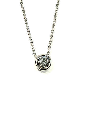Platinum and Diamond Bezel Pendant