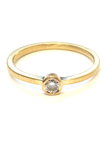 14k Yellow Gold Diamond Stacker Ring