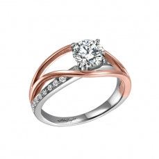 14k White Gold and Diamond Ring with Rose Gold Accent