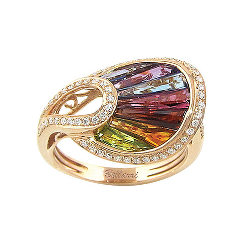 14k Rose Gold Semi-Precious & Diamond Ring