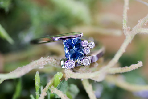 14k White Gold Blue Tourmaline and Diamond Ring