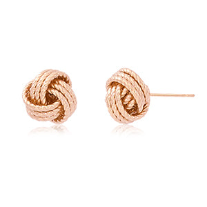 14k Rose Gold Twisted Love Knot Earrings