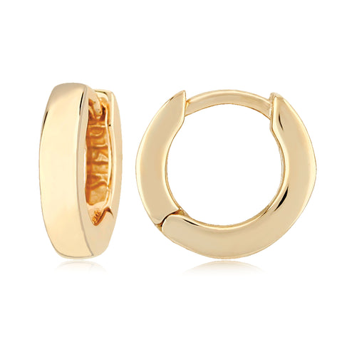 14k Yellow Gold Huggie Hoop Earrings